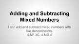 Adding and Subtracting Mixed Numbers with Like Denominators