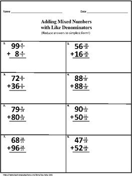 Mixed Numbers with Like Denominators Addition and Subtraction