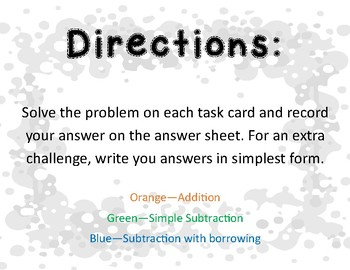 Adding and Subtracting Mixed Numbers with Like Denominators Task Cards
