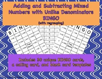 Adding and Subtracting Mixed Numbers with Unlike Denominators BINGO