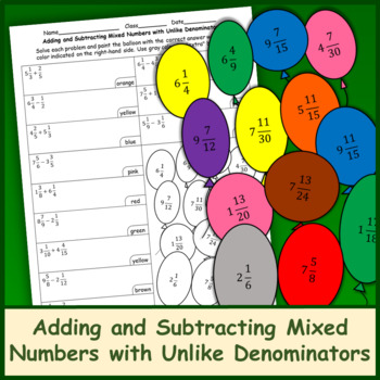 Adding and Subtracting Mixed Numbers with Unlike Denominators Color by Number