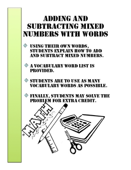 Adding and Subtracting Mixed Numbers with Words