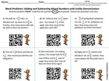 Adding and Subtracting Mixed numbers Unlike Denominators QR Code Reader 5.NF.A2