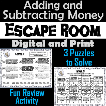 Adding and Subtracting Money Word Problems: Escape Room Math