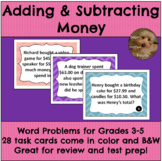 Adding and Subtracting Money Word Problems Grades 3-5 Math Task Cards