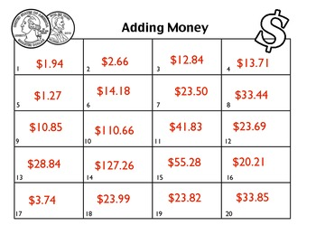 Adding Money Task Cards (Decimals)