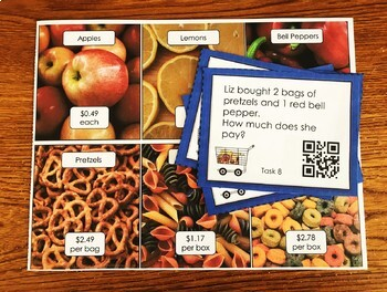 Adding and Subtracting Money Word Problems Math Center with QR codes