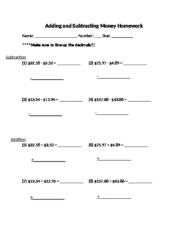 Adding and Subtracting Money Worksheet Adding and Subtracting Money Worksheet