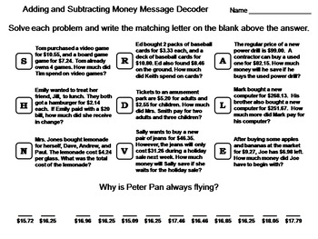 Adding And Subtracting Money Worksheets Teaching Resources ...