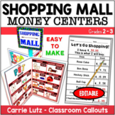 Adding and Subtracting Money at the Shopping Mall (editable)
