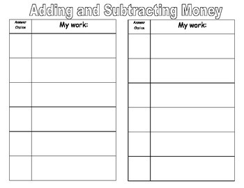 Adding and Subtracting Money problem solving