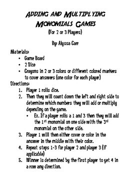Adding and Subtracting Monomials Games