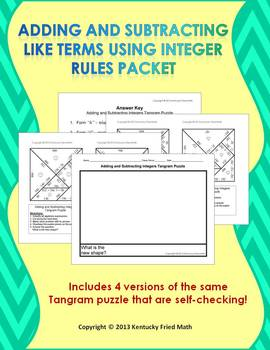 Adding and Subtracting Like Terms Using Integer Rules Tangram Puzzles
