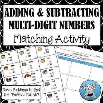 "ADDING & SUBTRACTING MULTI-DIGIT NUMBERS - ""MATH MATCH"" CUT & PASTE ACTIVITY"