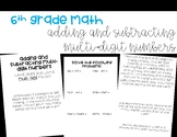 Adding and Subtracting Multi-Digit Numbers Foldable