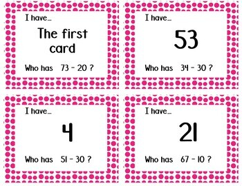 Adding and Subtracting Multiples of 10 I Have, Who Has Games PAIR PACK