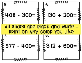 Adding and Subtracting Multiples of 100 Task Card/Scoot Activity Grades 2-4