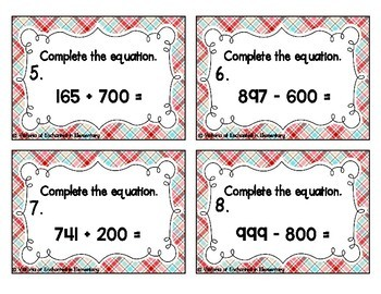 Adding and Subtracting Multiples of 100 Task Cards
