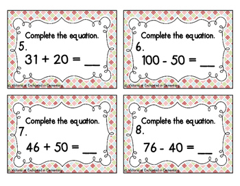 Adding and Subtracting Multiples of Ten Task Cards