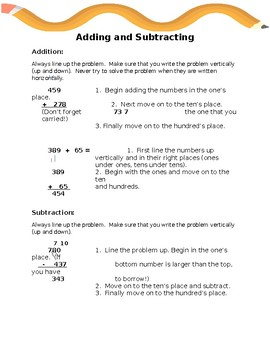 Adding and Subtracting Notes and Practice Worksheet