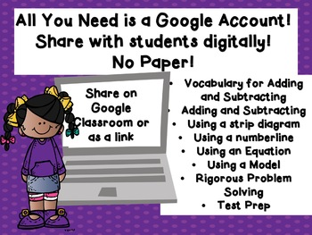 Adding and Subtracting Numbers TEKS 3.4A and 3.5A Google Classroom Ready!