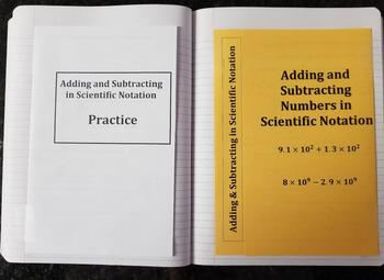 Adding and Subtracting Numbers in Scientific Notation (Foldables)