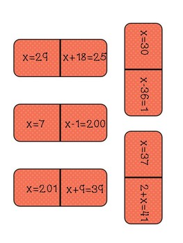 Adding and Subtracting One Step Equation Dominoes | No Negatives