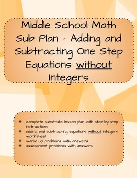 Adding and Subtracting One Step Equations without integers