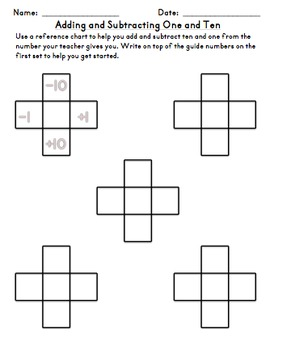 Adding and Subtracting One and Ten Chart Daily Practice First Second Third