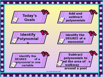 Algebra Power-point:  Adding and Subtracting Polynomials with GUIDED NOTES