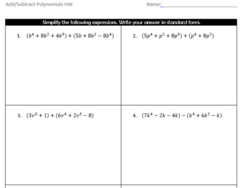 Adding and Subtracting Polynomials Guided Notes and HW