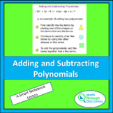 Algebra 1 - Adding and Subtracting Polynomials - A Lesson