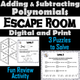 Adding and Subtracting Polynomials Game: Algebra Escape Room Math Activity