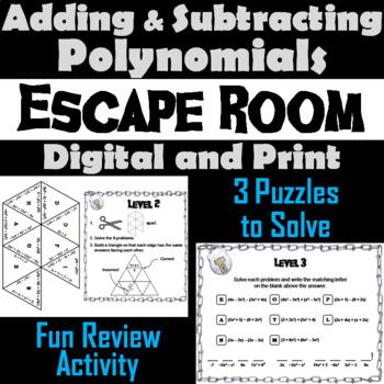 Adding and Subtracting Polynomials Game: Algebra Escape Room Math Activity