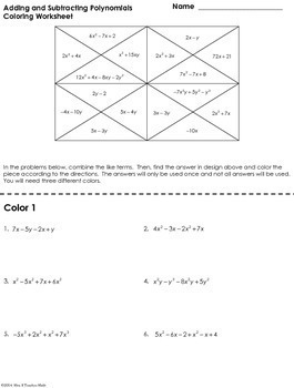 Add and Subtract Polynomials Coloring Worksheet by Mrs E Teaches Math