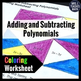 Add and Subtract Polynomials Coloring Worksheet