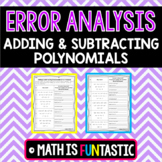 Adding and Subtracting Polynomials Error Analysis