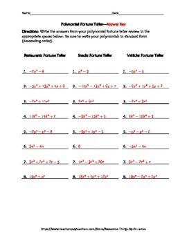 Adding and Subtracting Polynomials Fortune Teller Activity