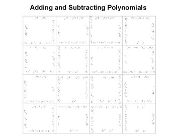 Adding and Subtracting Polynomials Fun Square Activity