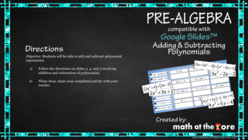 Adding and Subtracting Polynomials - GOOGLE Slides