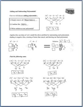 Adding and Subtracting Polynomials (Guided Notes & Algebra Tile Activity)