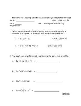 Adding and Subtracting Polynomials Lesson