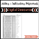 Adding and Subtracting Polynomials Matching Activity - Dig