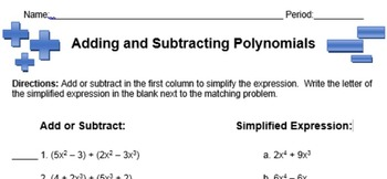 Adding and Subtracting Polynomials - Matching Worksheet