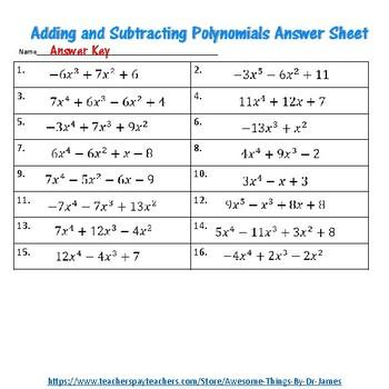 Adding and Subtracting Polynomials Mosaic Math Google Slides Activity