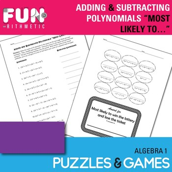 """Adding and Subtracting Polynomials """"Most Likely to..."""" Award *Freebie*"""