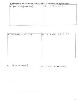 Adding and Subtracting Polynomials Notes Packet