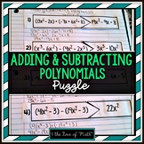 Adding and Subtracting Polynomials Puzzles