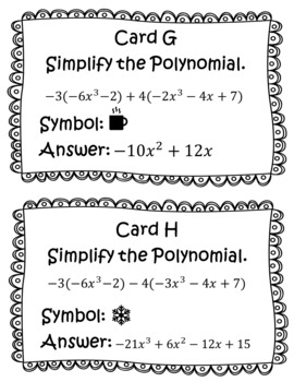 Adding and Subtracting Polynomials Scavenger Hunt Activities Winter Themed