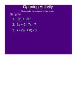 Adding and Subtracting Polynomials SmartBoard Lesson